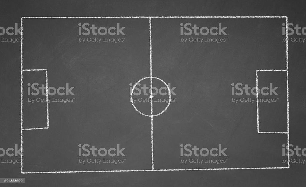 football field drawn with chalk on blackboard stock photo