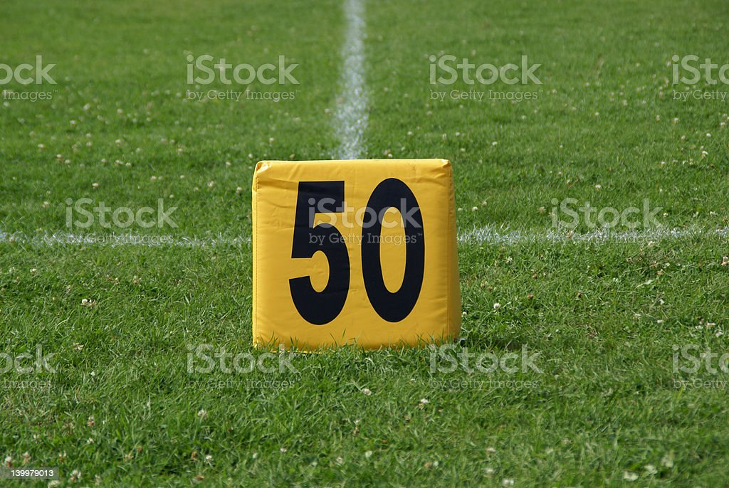 Football Field (FiftyYard Line) royalty-free stock photo