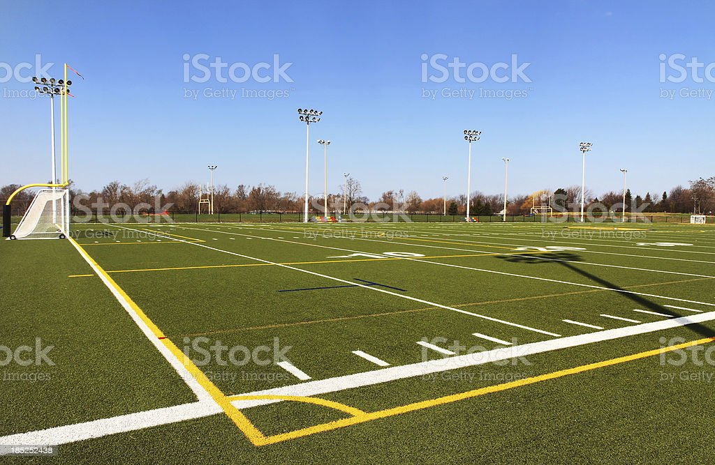 Football field turf and markings stock photo
