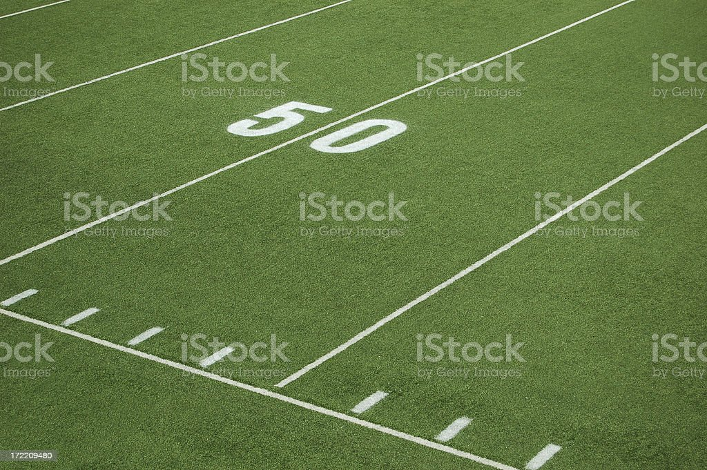 football fifty yard line royalty-free stock photo
