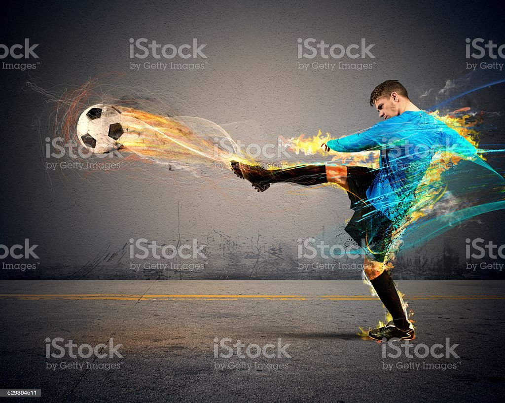 Football fire stock photo