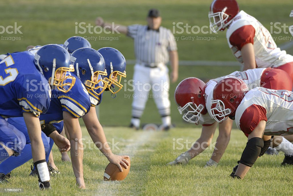 Football Game line of scrimage stock photo