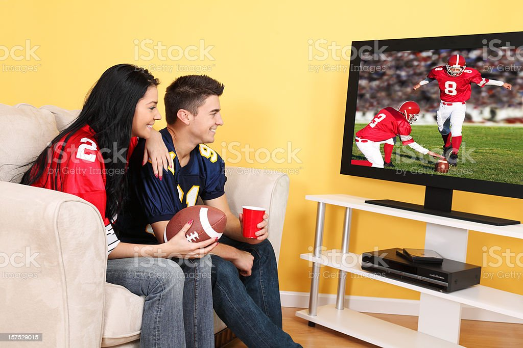 Football Game On Television royalty-free stock photo