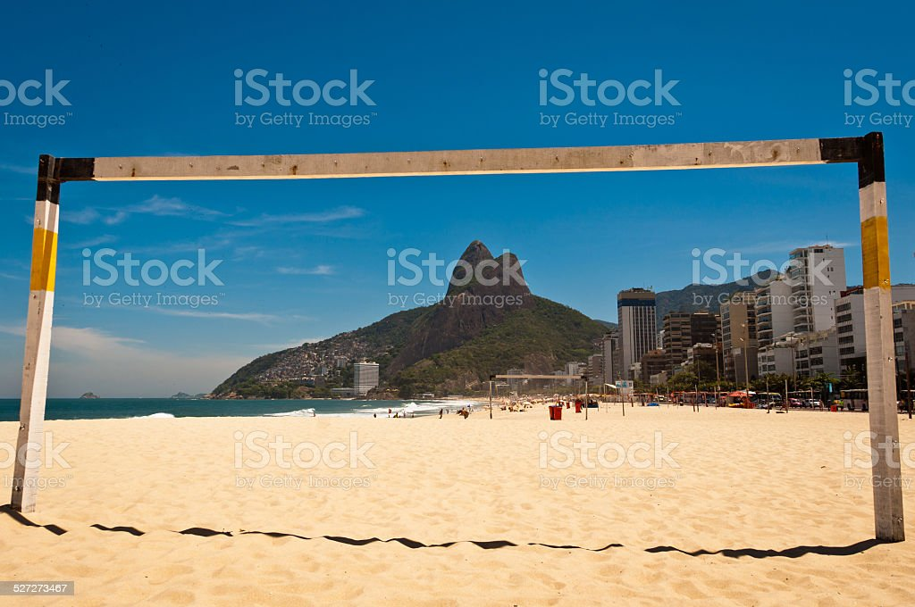 Football Gate in Ipanema Beach stock photo