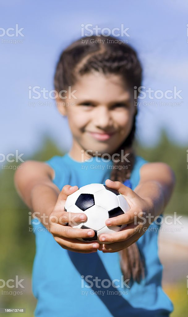 Football. Girl with ball royalty-free stock photo