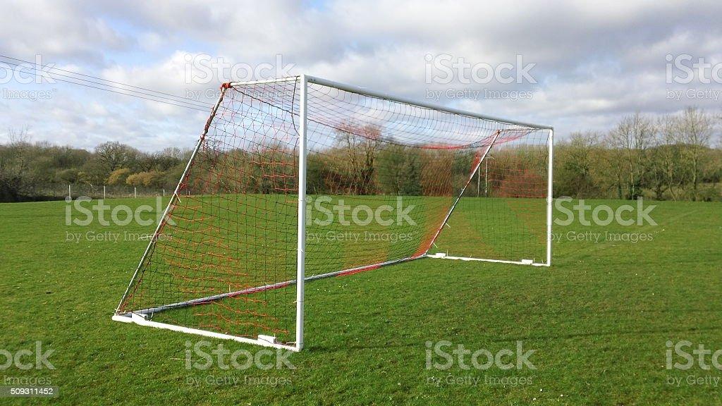 Football goal and net stock photo