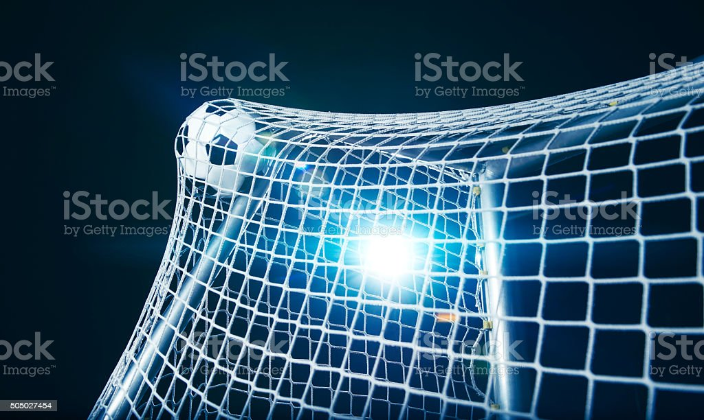 Football goal at soccer stadium stock photo