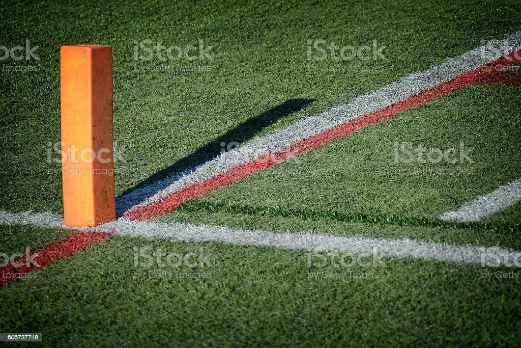 Football Goal Line Green Grass Yardline stock photo
