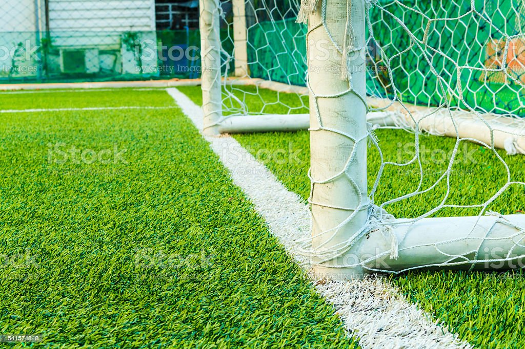 Football goal line with field artificial grass stock photo