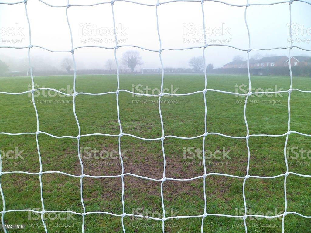 Football goal net close-up stock photo