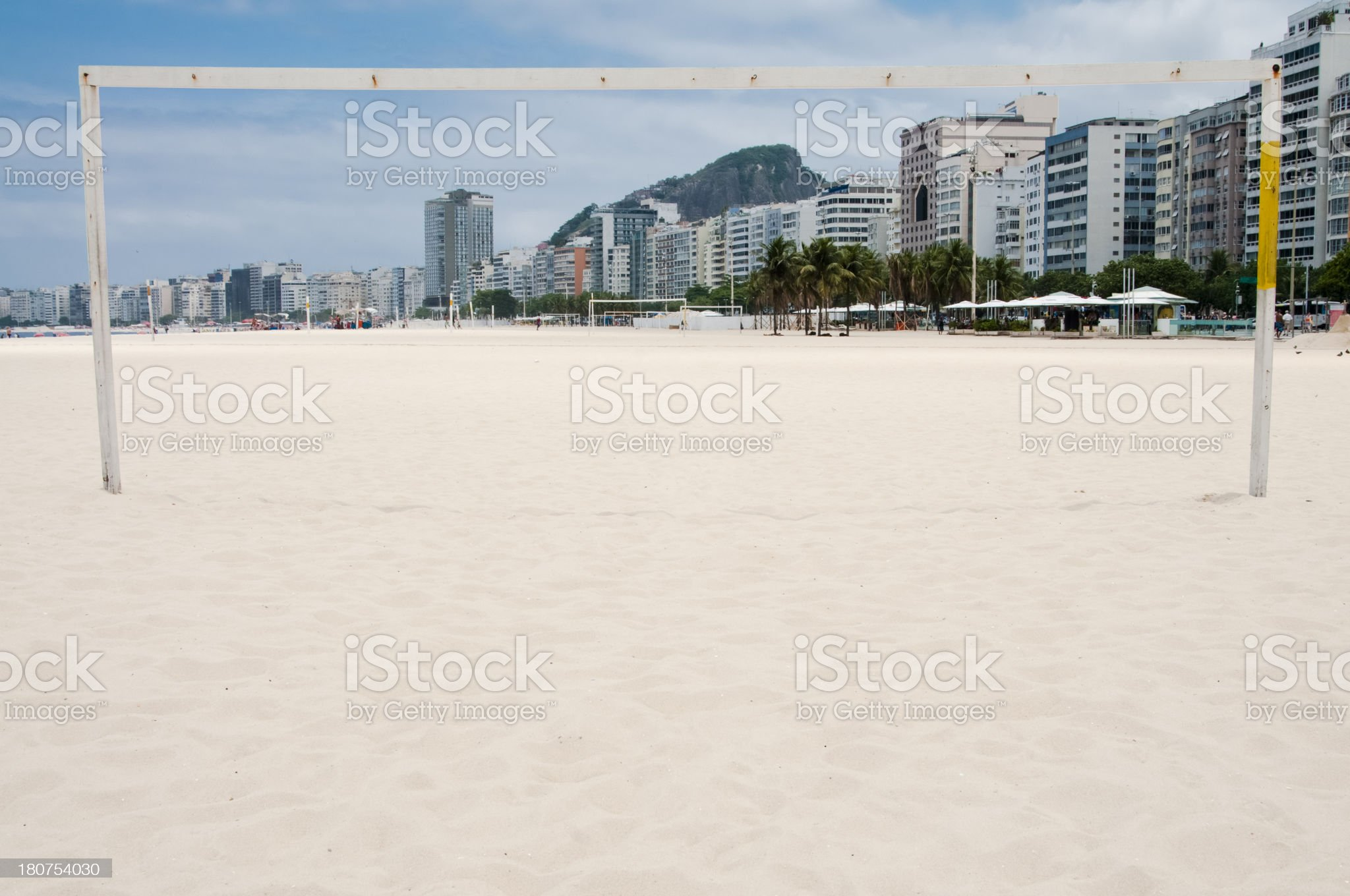 Football Goal Over looking Condominiums, Copacabana, Brazil. royalty-free stock photo