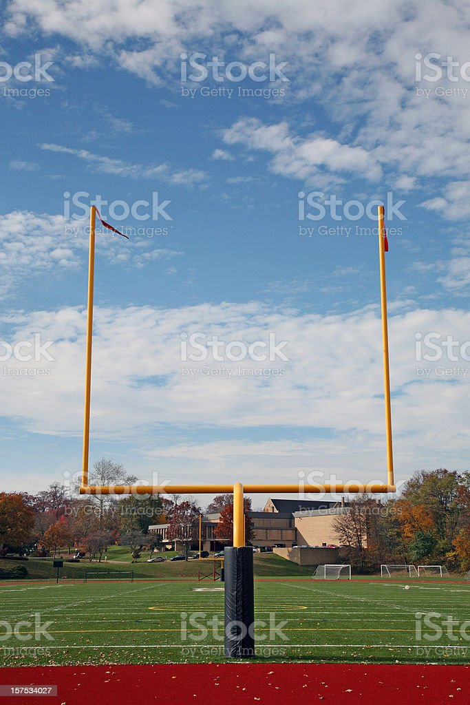 Football Goal Post And Fall Background stock photo