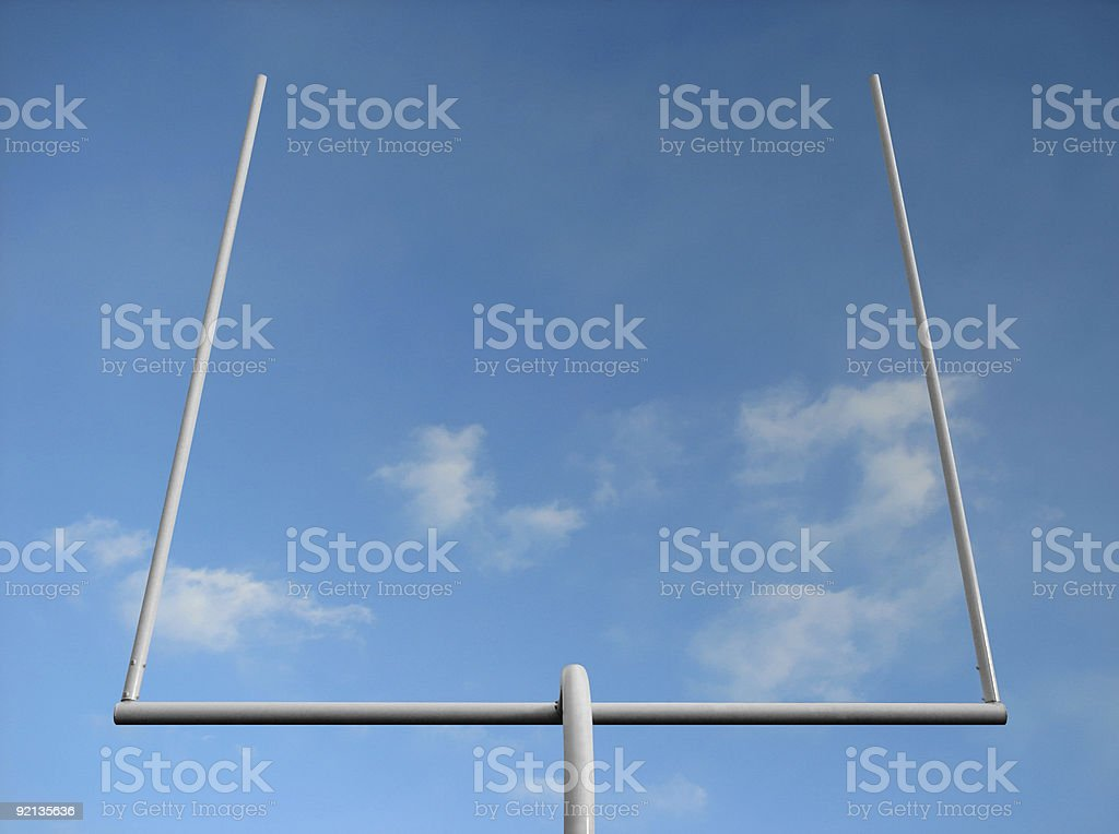 Football goal post stock photo