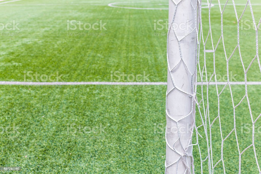 Football goal with field artificial grass stock photo
