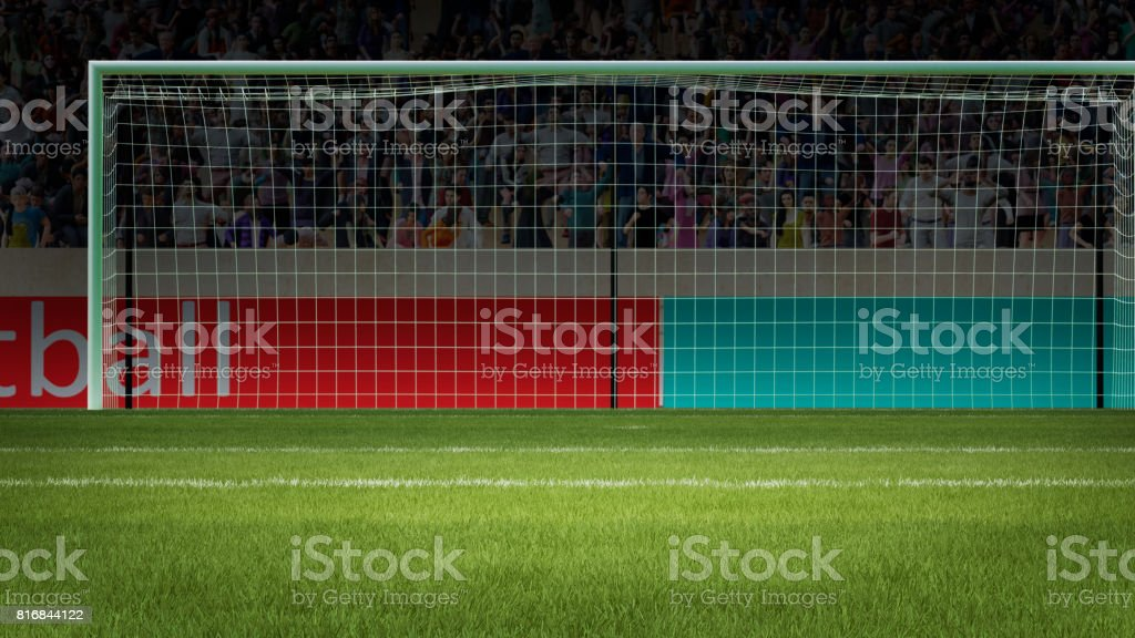 football goal with people on background 3d rendering stock photo
