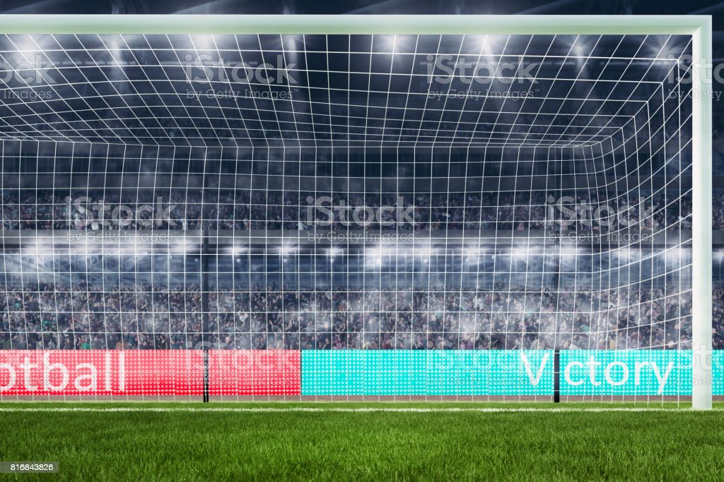 football goal with people on background close-up 3d rendering stock photo