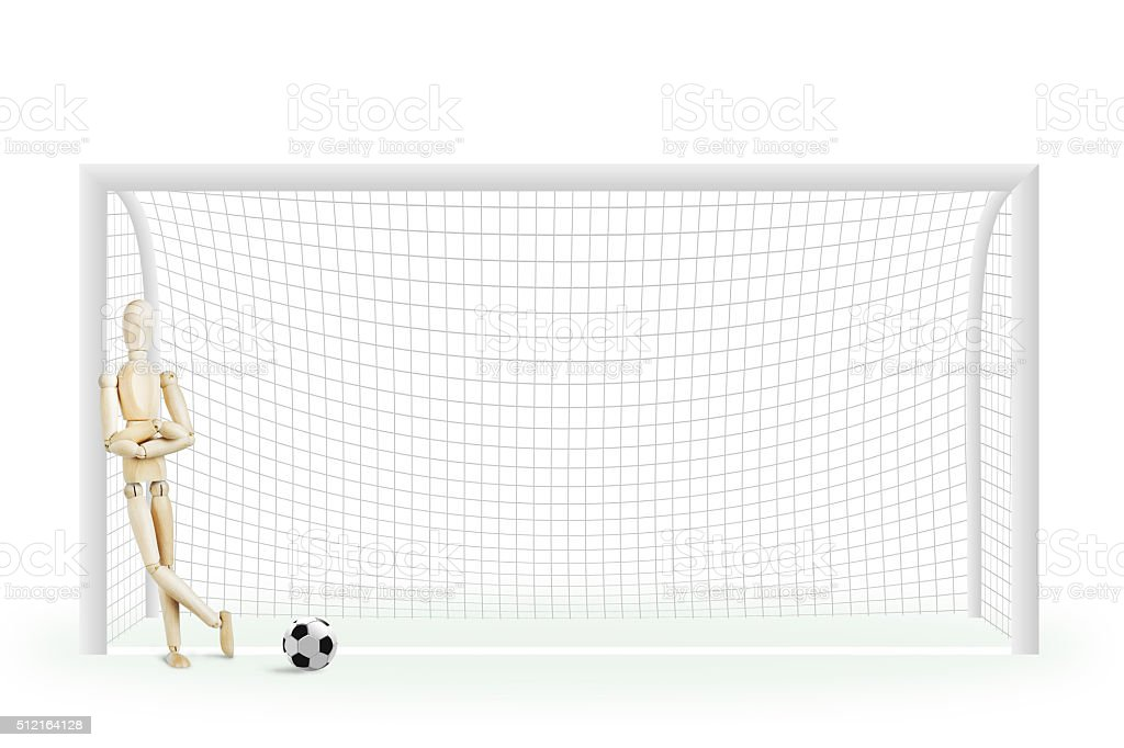 Football goalkeeper standing in the gate stock photo