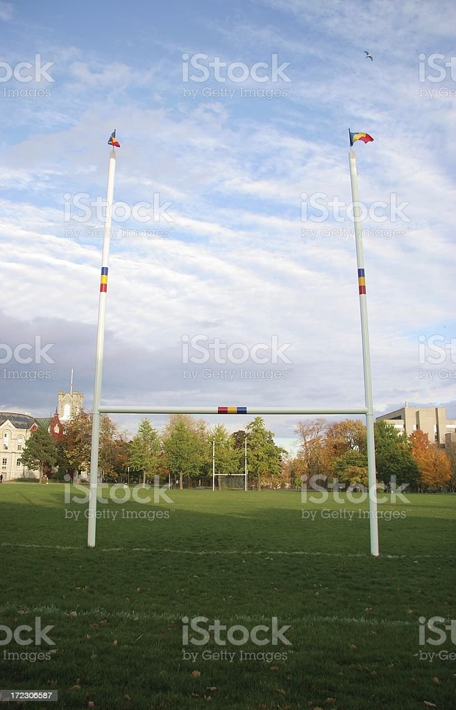 Football Goalposts in Fall royalty-free stock photo
