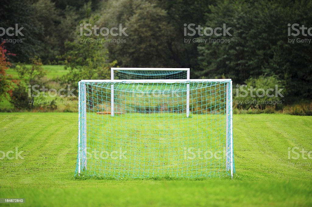 Football (soccer) goals inline royalty-free stock photo