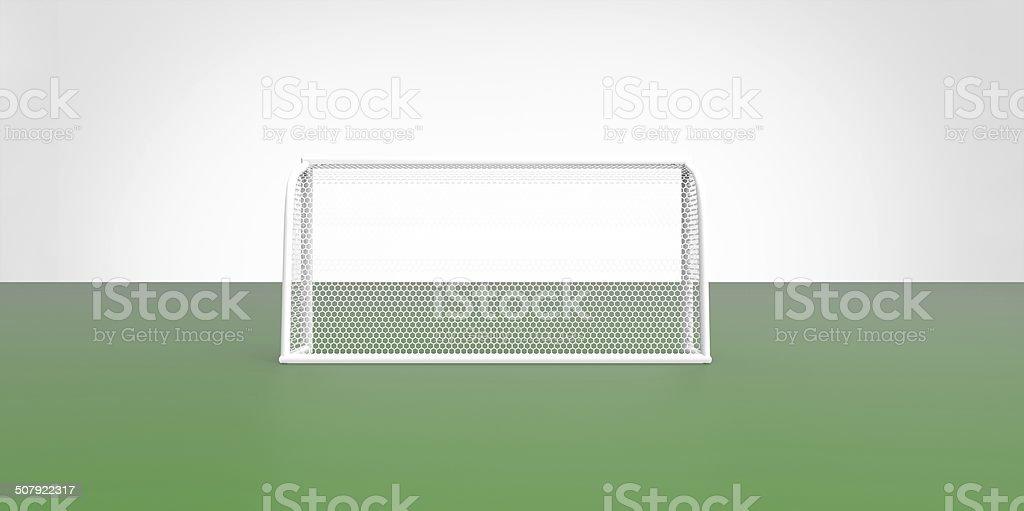 Football (soccer) goals post goalkeeper on clean empty green field stock photo