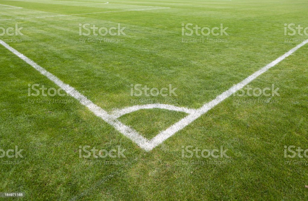 Football green grass field with corner white lines stock photo