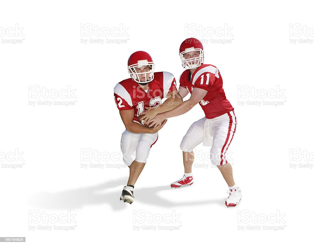 Football Handoff with Clipping Path royalty-free stock photo