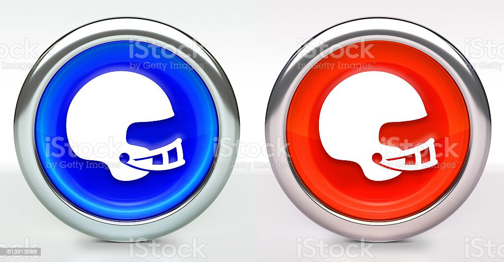 Football Helmet Icon on Button with Metallic Rim stock photo