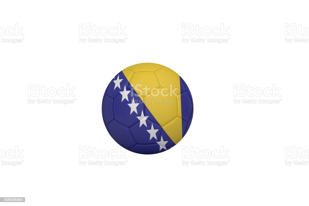 Football in bosnia and herzegovina colours stock photo