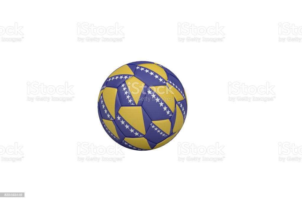 Football in bosnian colours stock photo
