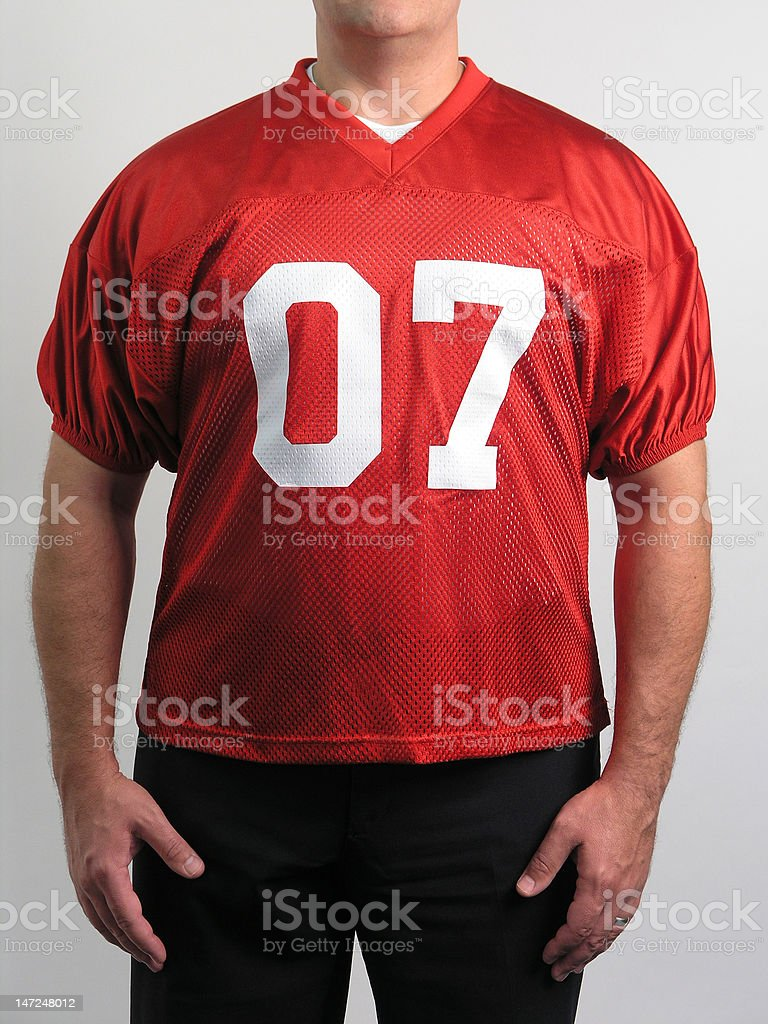 Football Jersey on Man stock photo