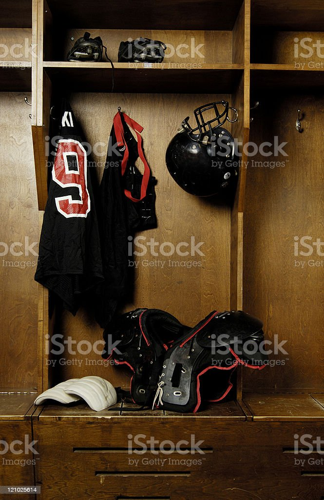Football locker room, retro, old school. stock photo