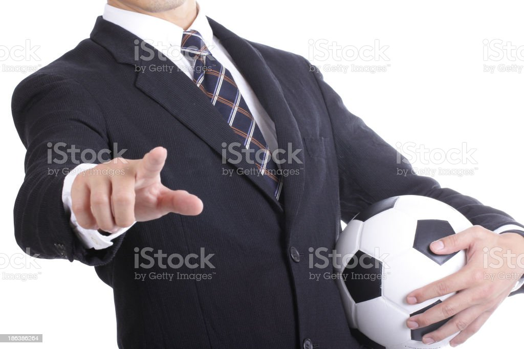 Football manager hold ball for command player include clipping p stock photo