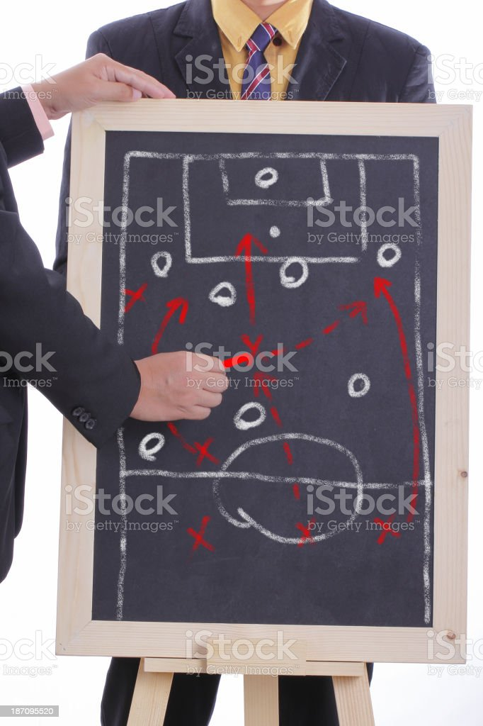 Football manager plan attack game stock photo