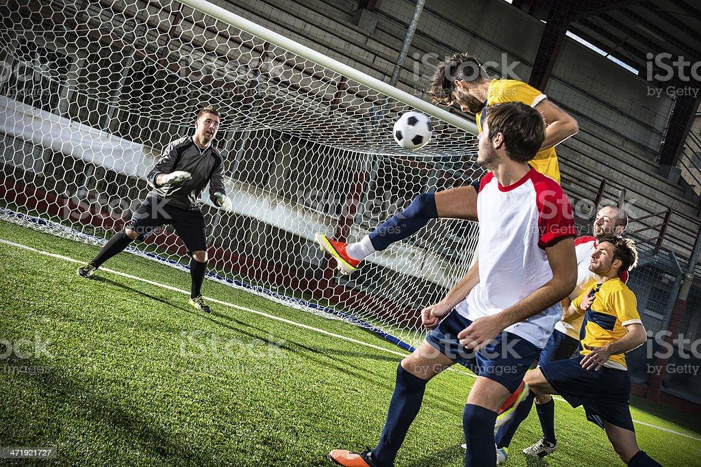 Football match in stadium: Header royalty-free stock photo