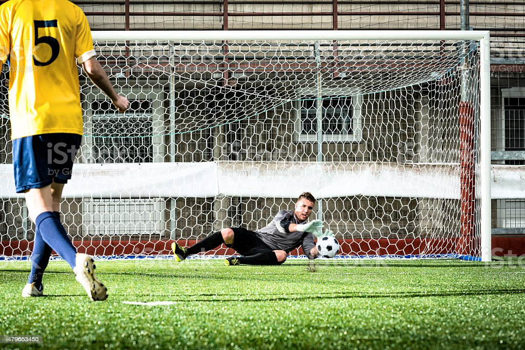 Football match in stadium: Missed penalty kick stock photo