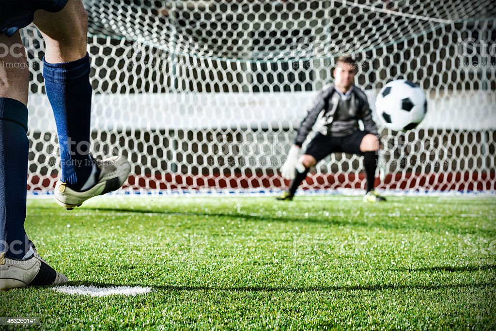 Football match in stadium: Penalty kick royalty-free stock photo
