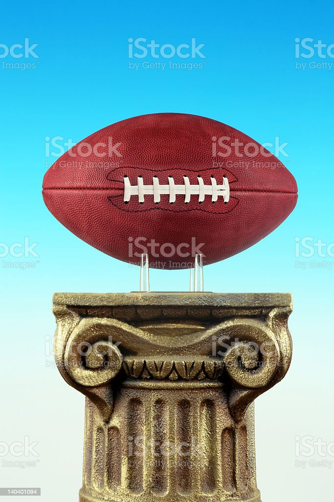 Football On Column Pedestal stock photo