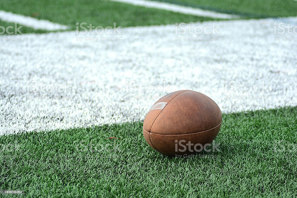 Football On Green Astroturf Sports Playing Field stock photo
