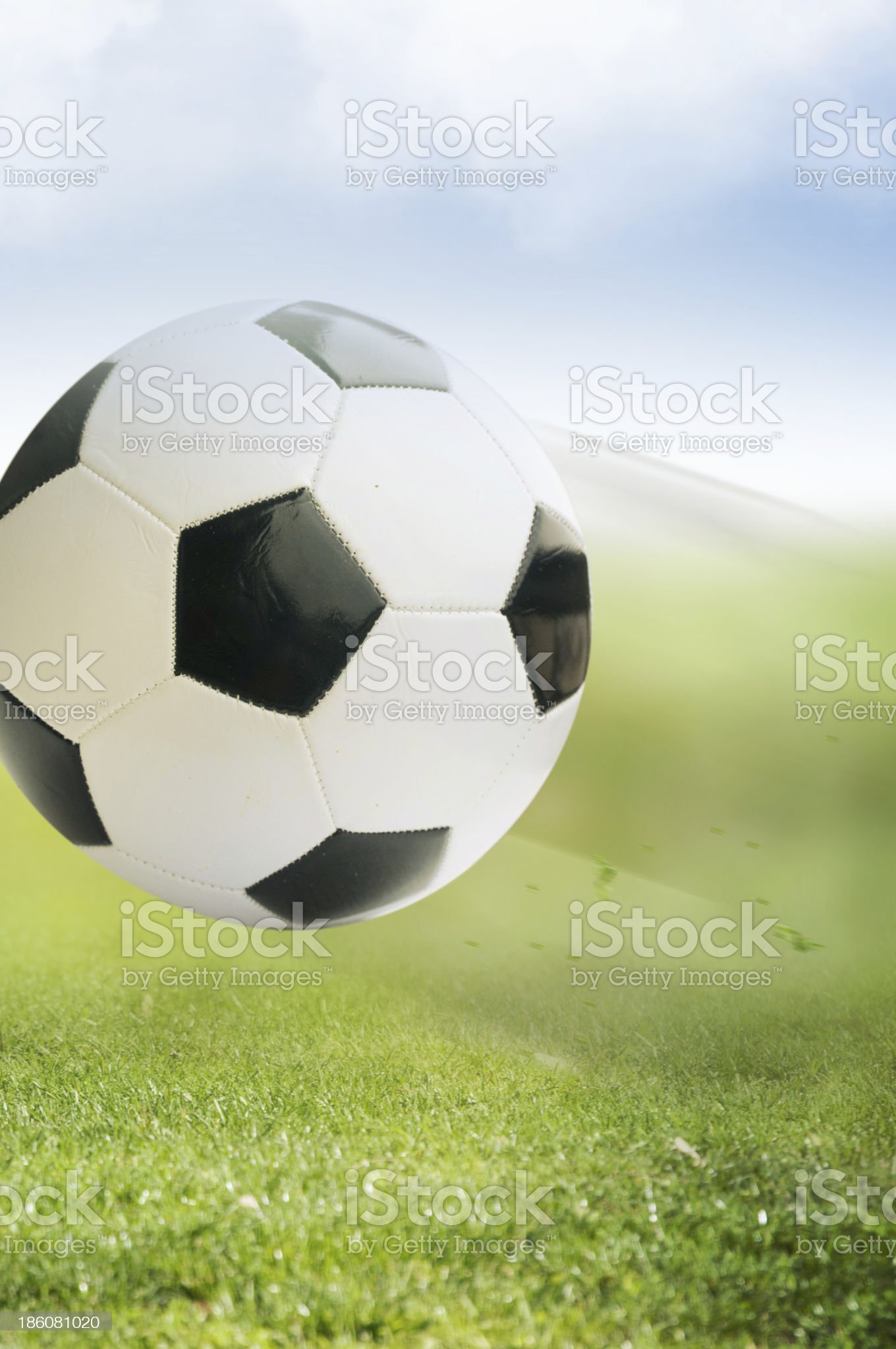 football on green grass royalty-free stock photo
