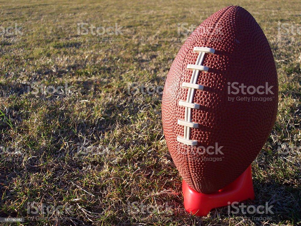 Football on Tee Right Full stock photo