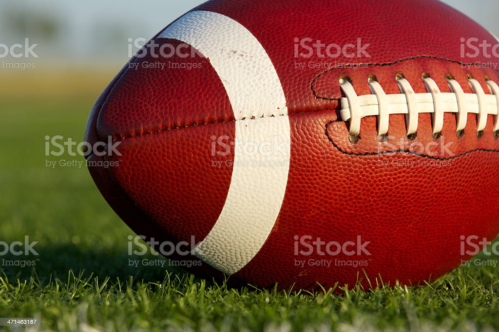 Football on the Field Close Up royalty-free stock photo