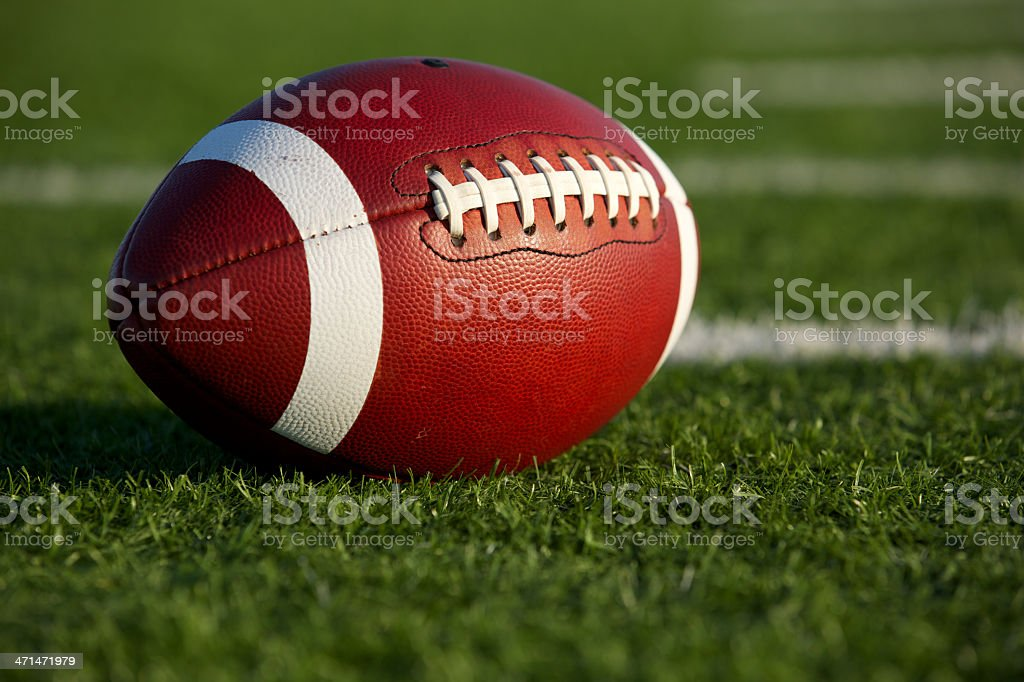 Football on the Field Close Up stock photo