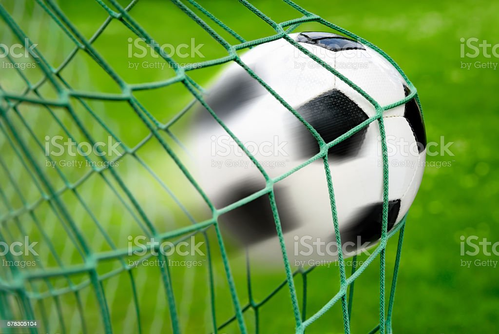 Football or soccer goal stock photo