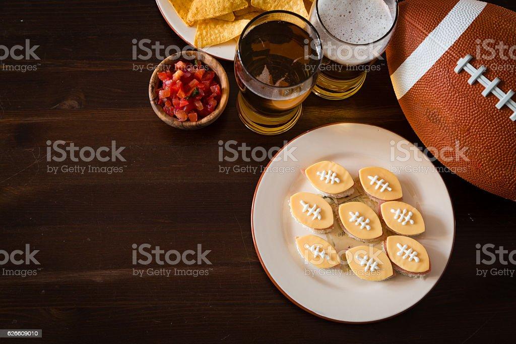Football party food stock photo
