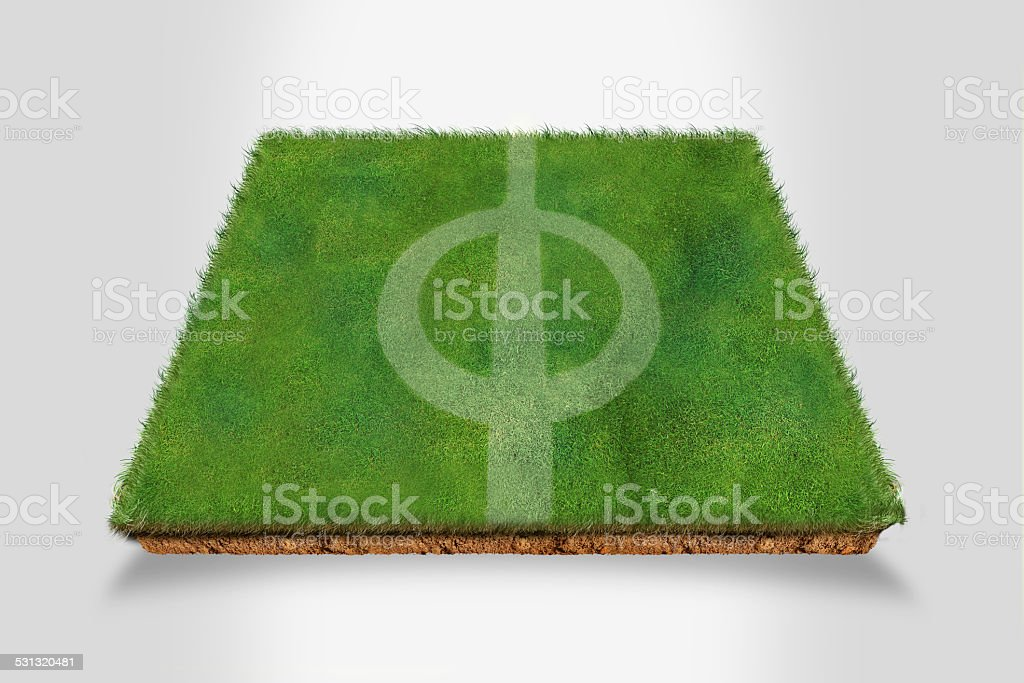Football Pitch on Grass Turf stock photo