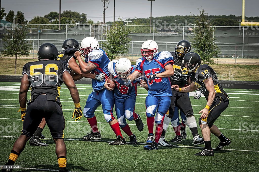 Football play in progress - V stock photo