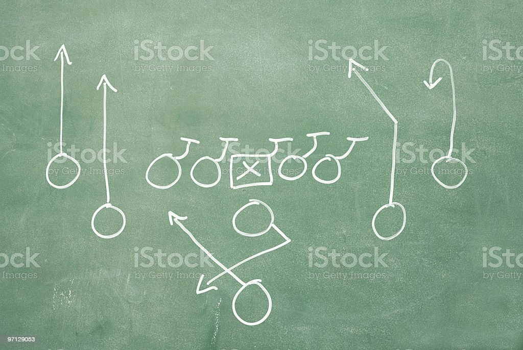 Football play on blackboard royalty-free stock photo