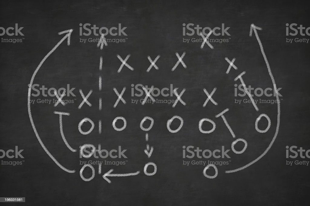 Football play sketched on a blackboard stock photo