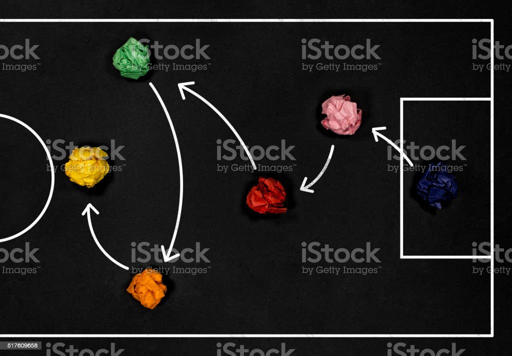 Football play strategy drawn out on a chalk board stock photo