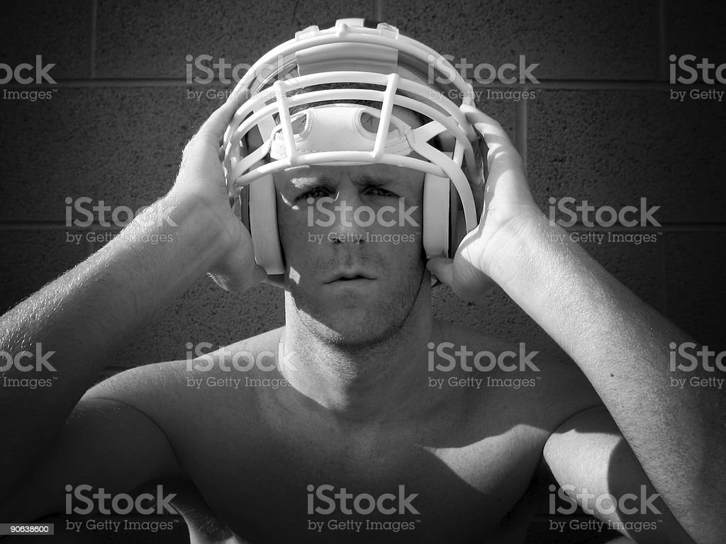 Football Player After Practice stock photo